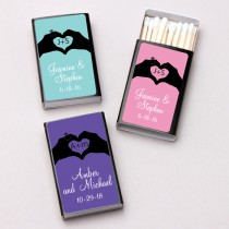 Personalized Hand Heart Black Matchboxes (Set of 50)