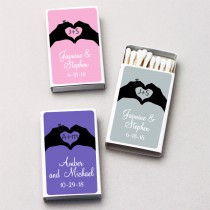 Personalized Hand Heart White Matchboxes (Set of 50)